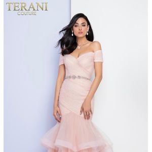 Terani Couture mermaid ruffled evening gown
